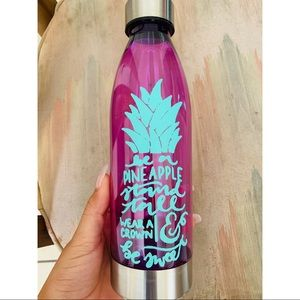 Pineapple with saying purple water bottle